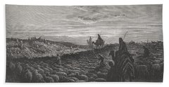 Abraham Journeying Into The Land Of Canaan Beach Towel by Gustave Dore