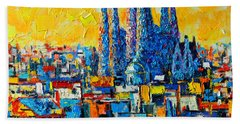 Abstract Sunset Over Sagrada Familia In Barcelona Beach Towel by Ana Maria Edulescu