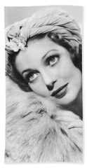 Actress Loretta Young Beach Towel by Underwood Archives