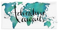 Adventure Awaits - Travel Quote On World Map Beach Sheet by Michelle Eshleman