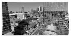 Aerial Photography Downtown Nashville Beach Sheet by Dan Sproul