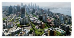 Aerial View Of A City, Seattle, King Beach Towel by Panoramic Images