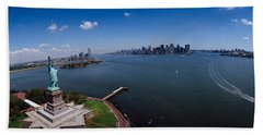 Aerial View Of A Statue, Statue Beach Towel by Panoramic Images