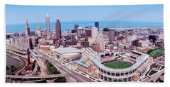 Aerial View Of Jacobs Field, Cleveland Beach Towel by Panoramic Images