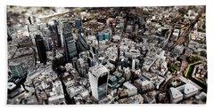 Aerial View Of London 3 Beach Sheet by Mark Rogan