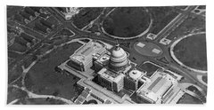 Aerial View Of U.s. Capitol Beach Towel by Underwood Archives