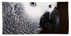African Gray Parrot Art - Seeing Is Believing Beach Towel by Sharon Cummings
