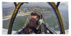 Airman Fliesin A Yakovlev Yak-52 Beach Sheet by Stocktrek Images