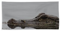 Alligator Eyes Beach Sheet by Dan Sproul