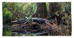Alligator In Okefenokee Swamp Beach Towel by William H. Mullins