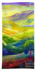 Wildflower Meadows, Amber Skies Beach Towel by Jane Small