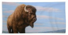 American Bison Beach Towel by James W Johnson