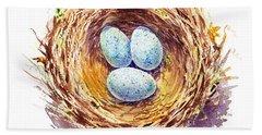 American Robin Nest Beach Towel by Irina Sztukowski