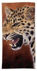 Amur Leopard Painting Beach Sheet by Rachel Stribbling