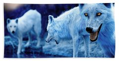 Arctic White Wolves Beach Sheet by Mal Bray