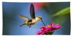 Art Of Hummingbird Flight Beach Towel by Christina Rollo