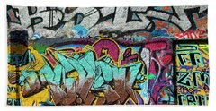 Artistic Graffiti On The U2 Wall Beach Towel by Panoramic Images