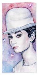 Audrey Hepburn Fashion Watercolor Beach Towel by Olga Shvartsur