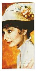 Audrey Hepburn - Impressionism Beach Sheet by Georgiana Romanovna