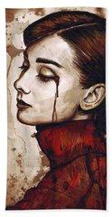 Audrey Hepburn - Quiet Sadness Beach Sheet by Olga Shvartsur
