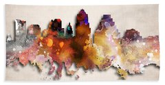 Austin Painted City Skyline Beach Towel by World Art Prints And Designs