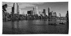 Austin Skyline Bw Beach Towel by Judy Vincent
