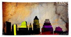 Austin Skyline Watercolor Beach Towel by Marvin Blaine