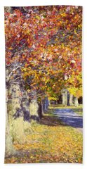 Autumn In Hyde Park Beach Towel by Joan Carroll