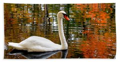 Autumn Swan Beach Towel by Lourry Legarde