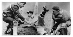Babe Ruth Slides Home Beach Sheet by Underwood Archives