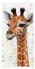 Baby Giraffe Watercolor  Beach Towel by Olga Shvartsur