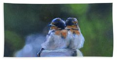 Baby Swallows On Post Beach Towel by Donna Tuten