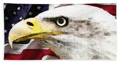 Bald Eagle Art - Old Glory - American Flag Beach Towel by Sharon Cummings