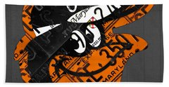 Baltimore Orioles Vintage Baseball Logo License Plate Art Beach Towel by Design Turnpike