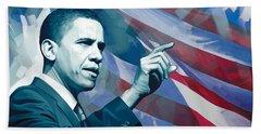 Barack Obama Artwork 2 Beach Towel by Sheraz A