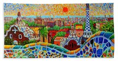 Barcelona View At Sunrise - Park Guell  Of Gaudi Beach Towel by Ana Maria Edulescu