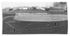 Baseball At Yankee Stadium Beach Towel by Underwood Archives