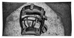 Baseball Catchers Mask Vintage In Black And White Beach Towel by Paul Ward