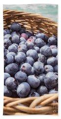 Basket Of Fresh Picked Blueberries Beach Towel by Edward Fielding