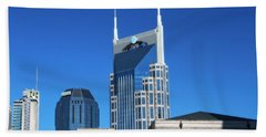 Batman Building And Nashville Skyline Beach Sheet by Dan Sproul