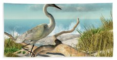 Beach Egret Beach Towel by Daniel Eskridge