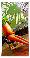 Beer Belly Carrot On A Hot Day Beach Towel by Sarah Loft