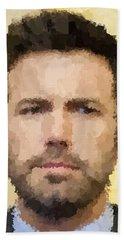 Ben Affleck Portrait Beach Sheet by Samuel Majcen