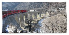 Beach Towel featuring the photograph Bernina Express In Winter by Travel Pics