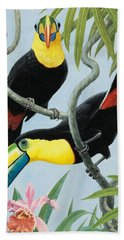 Big-beaked Birds Beach Towel by RB Davis