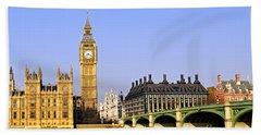Big Ben And Westminster Bridge Beach Sheet by Elena Elisseeva