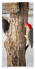 Bird Feeder Stand Off Beach Towel by Bill Wakeley