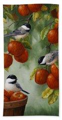 Bird Painting - Apple Harvest Chickadees Beach Sheet by Crista Forest