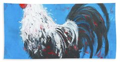 Black And White Rooster On Blue  Beach Towel by Jan Matson