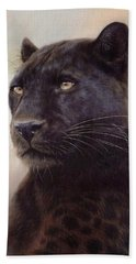 Black Leopard Painting Beach Sheet by Rachel Stribbling
